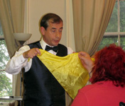 magician with hanky